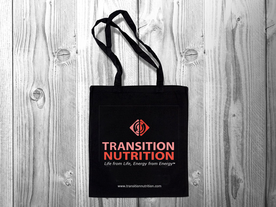 transition nutrition natural tote with print